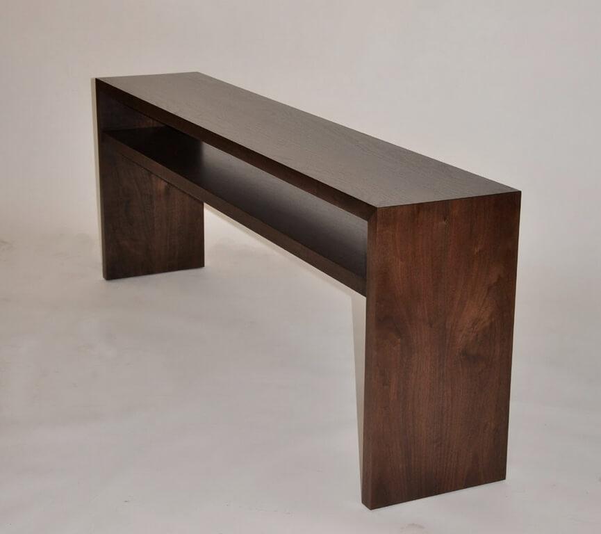 Waterfall Style Wide Plank Walnut Console Table Brooks Custom
