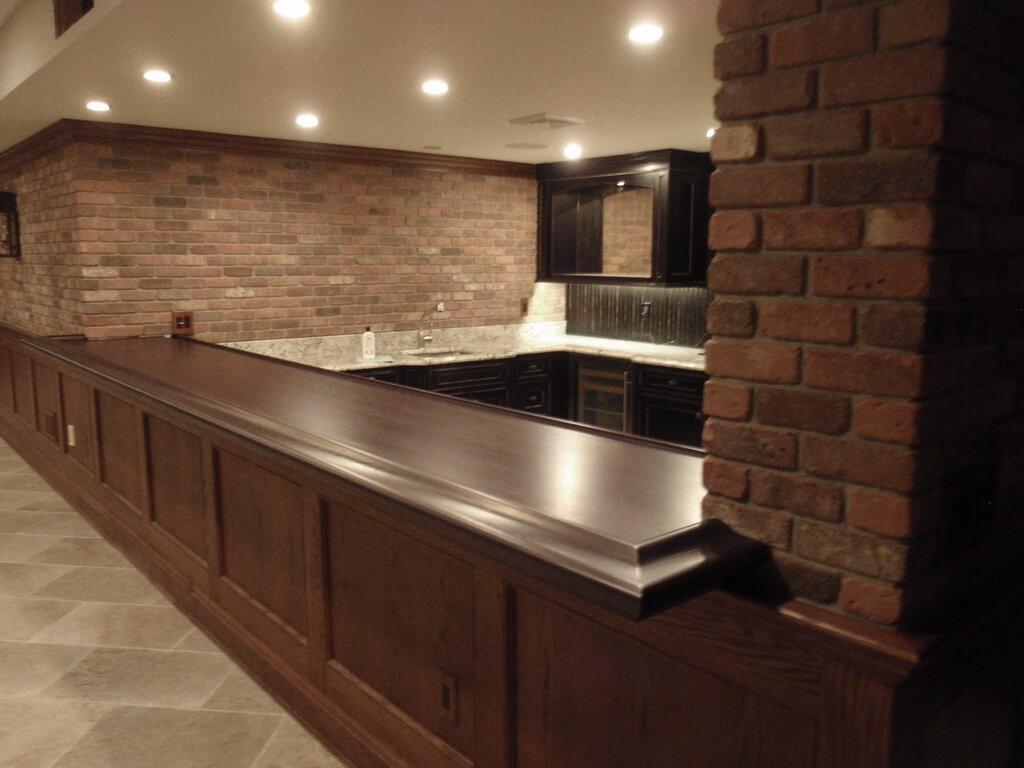 walnut wood bar top with bar rail