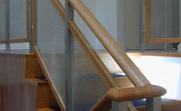 Custom Walnut Stainless Steel Stair Railings