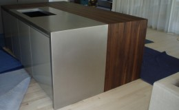 Waterfall Style Kitchen Island Wood Countertop with Stainless Steel and Edge Grain Walnut