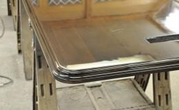 Close-Up of a High Polish Wood Bar Top Finish