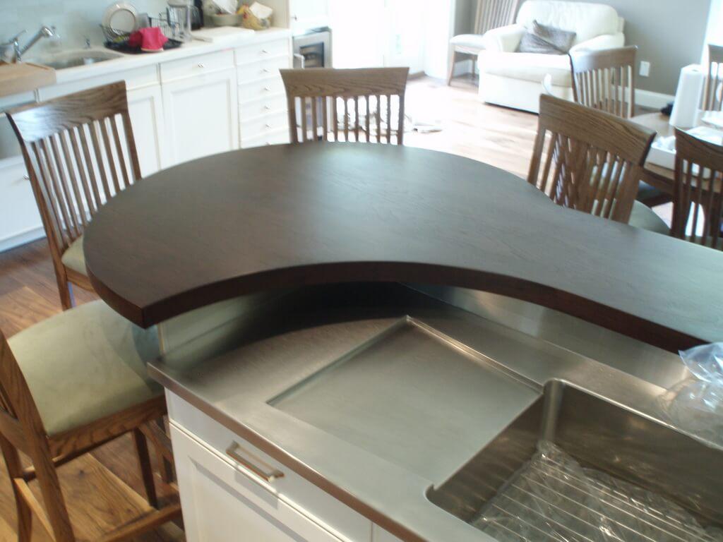 Premium wide plank wood countertops brooks custom - High Polished Wood Countertop Custom Curved Shape On A Walnut Wide Plank Bar Top