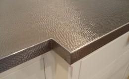 Machine Hammered Stainless Steel Countertop Closeup