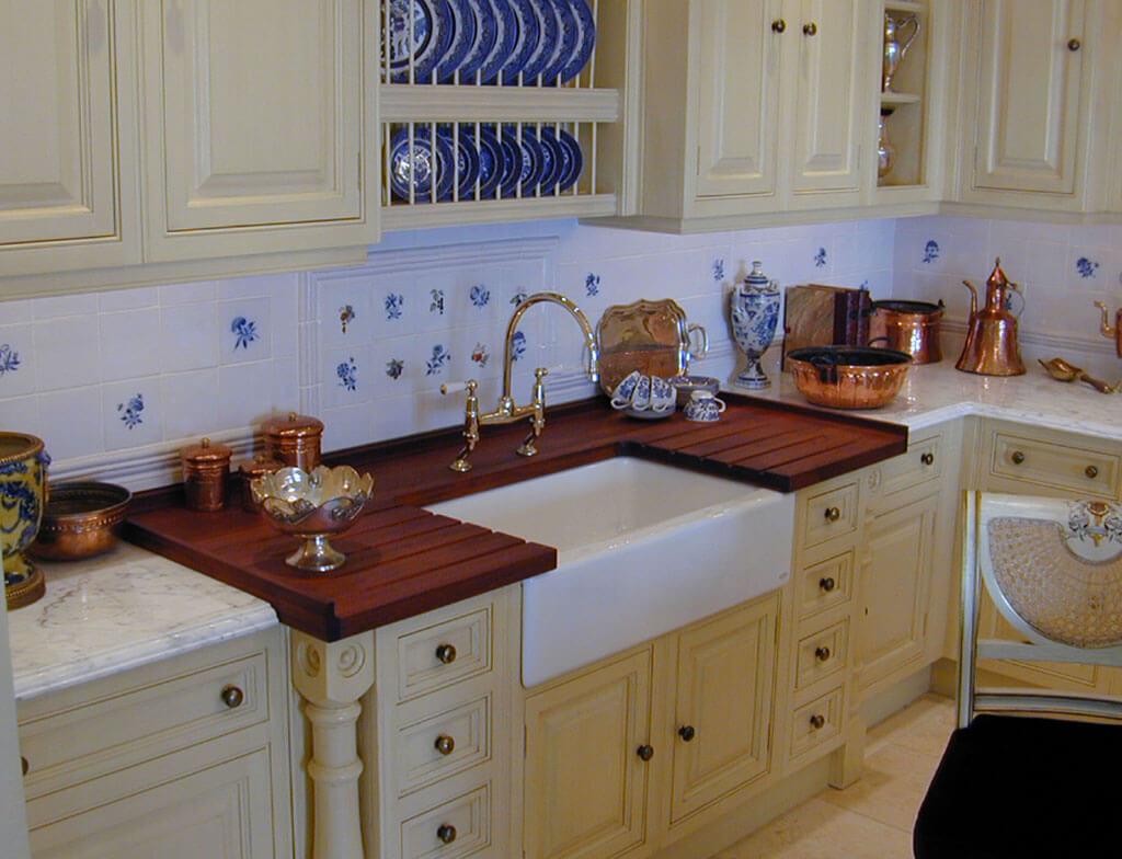 Premium wide plank wood countertops brooks custom -  Countertop Wide Plank Teak Wash Center For Clive Christian Kitchens