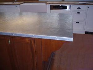 Textured zinc countertop for a kitchen island brooks custom for Zinc kitchen countertop