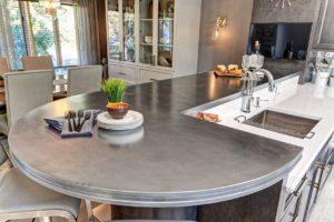 zinc countertop, artisan cast metal, metal countertops, metal edge profile