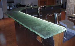 Custom Fusion Glass Bar Top with LED Lighting