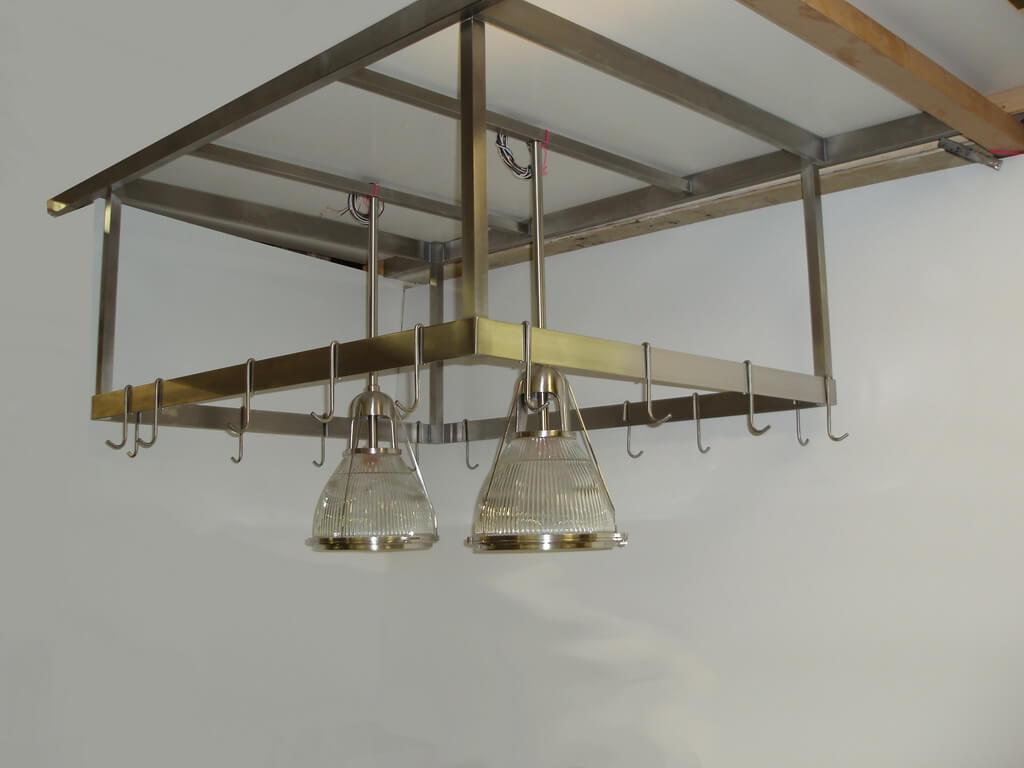 Custom Stainless Steel Light Fixture And Pot Rack Brooks Custom - Stainless kitchen light fixtures