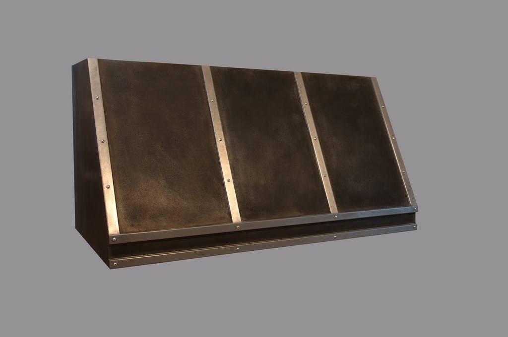kitchen range hood, patina finish zinc, custom range hoods, slant front range hood, patina finish zinc, artisan cast range hood