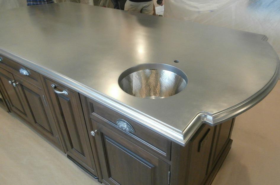 Stainless Steel Cast Kitchen Island Copper L Shape Countertop Decorative