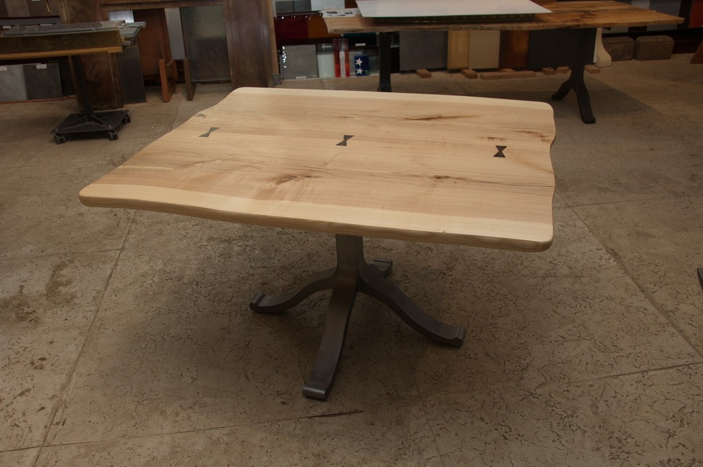 English Elm Live Edge Table With Cold Cast Pedestal Base ...