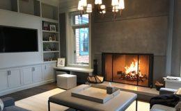 Dark Gray Concrete Fireplace Surround