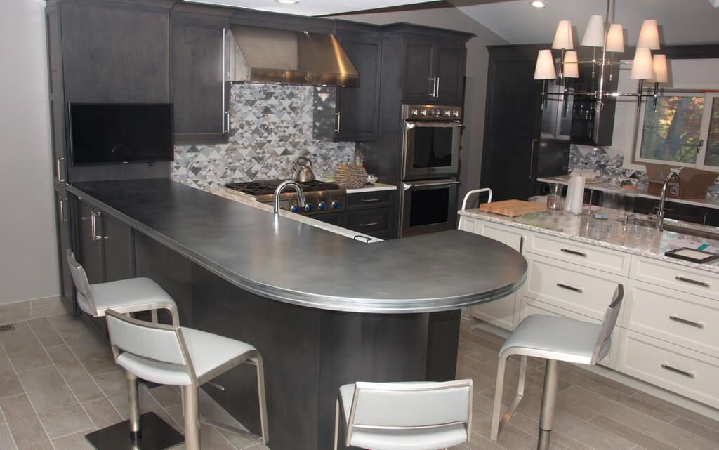 cold cast zinc, cold cast zinc kitchen island countertop, zinc countertop, stamford edge profile