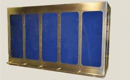 Stainless Steel and Blue Enamel Range Hood