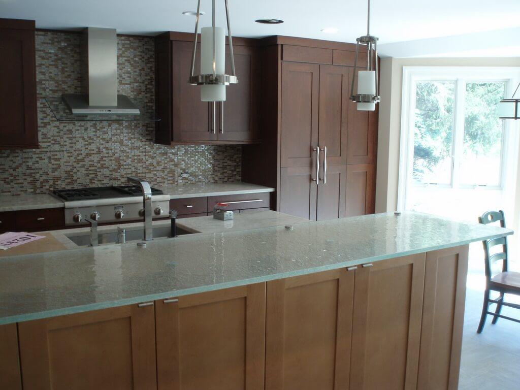 Glass Top Kitchen Island Fusion glass countertop brooks custom top fusion glass countertop in a bright kitchen workwithnaturefo