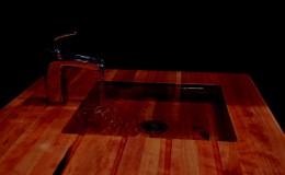 Cherry Edge Grain Wood Sink