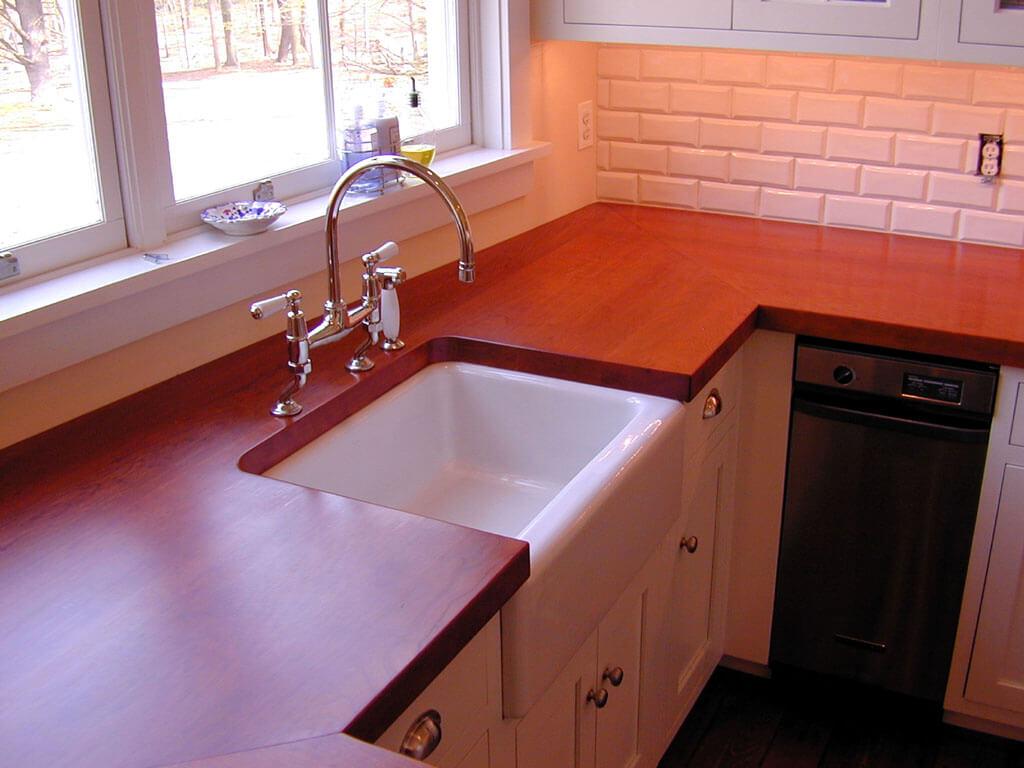 Wood Countertop Against White Subway Tile Brooks Custom