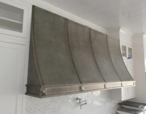 concave patina finish zinc range hood