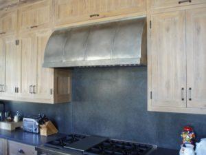 wall mounted matte finish custom zinc range hood with vertical seams