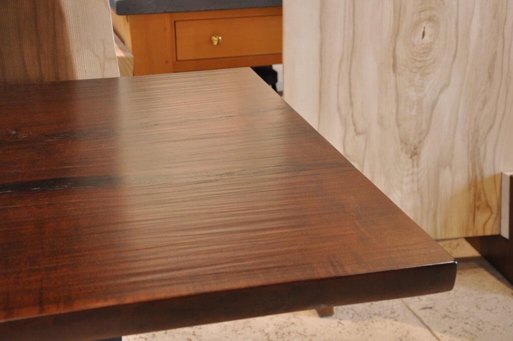 Hand hewn finish on a live edge wood table top brooks custom for Finishing live edge wood