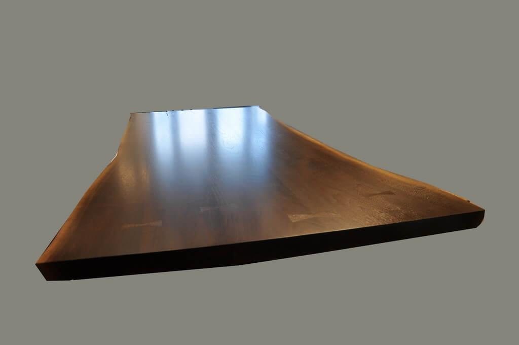 Medium sheen finish on live edge wood top brooks custom for Finishing live edge wood