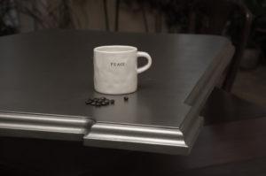 bistro collection residential countertops in zinc, artisan cast zinc, artisan cast zinc countertops, metal countertops