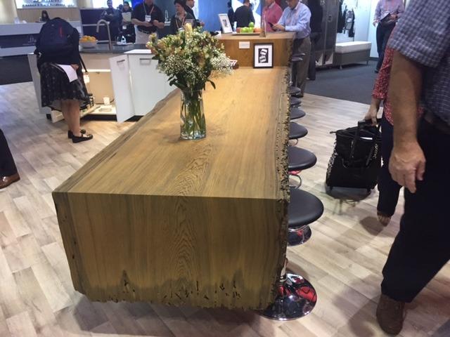 live edge wood island countertop NKBA KBIS 2017
