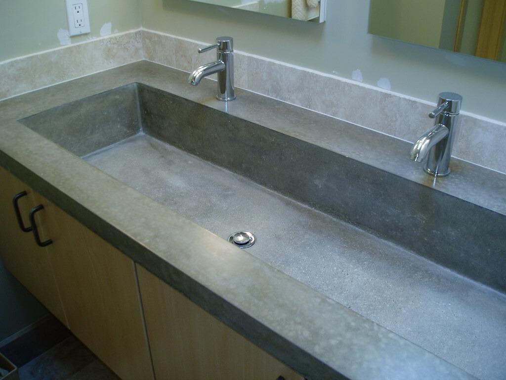 ... Gray Concrete Bathroom Trough Sink ...