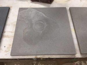 concrete countertops, gray concrete countertop, repairing concrete countertop